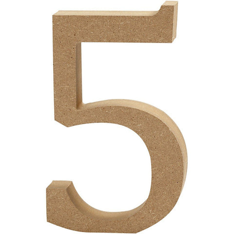 Large MDF Wooden Number 8 cm - Digit 5 - Hobby & Crafts