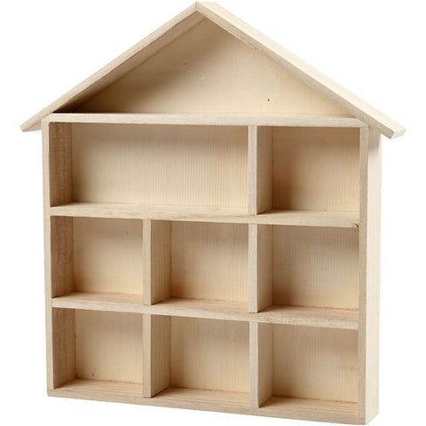 Empress Tree Wood House Shaped Shelving System With 9 Compartments - Hobby & Crafts