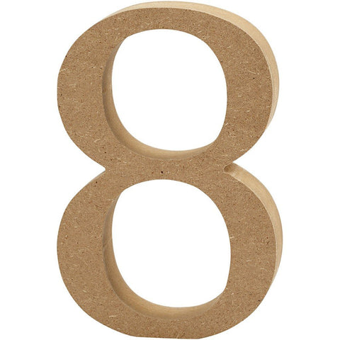 Large MDF Wooden Number 8 cm - Digit 8 - Hobby & Crafts