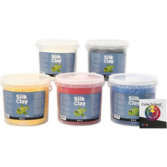 5 x Assorted Primary Colour Pliable Modelling Compund With Plastic Buckets 650 g - Hobby & Crafts