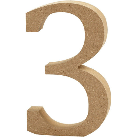Large MDF Wooden Number 13 cm - Digit 3 - Hobby & Crafts