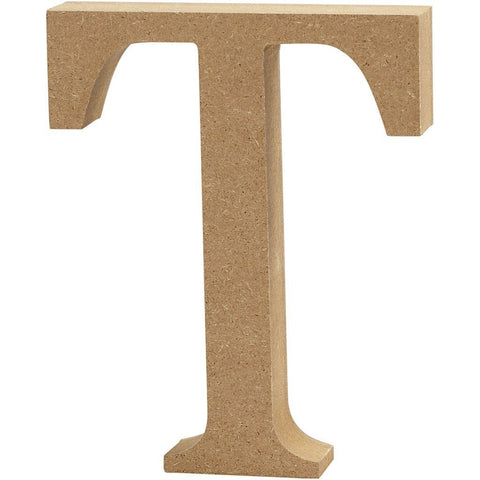 Large MDF Wooden Letter 13 cm - Initial T - Hobby & Crafts
