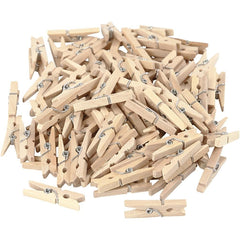 Birch Wooden Mini Clothes Pegs Utility Items Size 30 mm x 3 mm - Hobby & Crafts