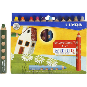 12 x Lyra 3 in 1 Assorted Colour Colouring Pencils 12 cm - Hobby & Crafts