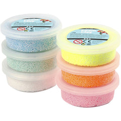 6 x Assorted Glitter Colour Small Bead Modelling Material With Plastic Tub 14 g - Hobby & Crafts