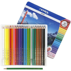 24 x Lyra Triangular Shaped Assorted Colour Osiris Colouring Pencils 18 cm - Hobby & Crafts