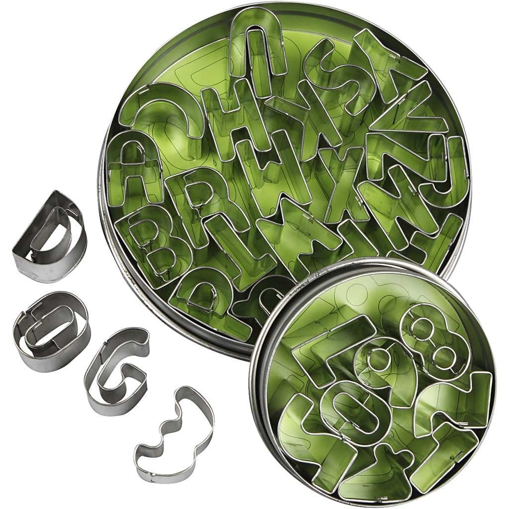 35 x Assorted Letter Number Shaped Metallic Cookie Cutters Kitchen Accessories - Hobby & Crafts