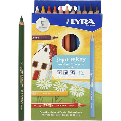 12 x Lyra Super Ferby Triangular Shaped Assorted Colour Pencils 18 cm - Hobby & Crafts