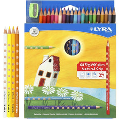 24 x Lyra Ergonomic Triangular Shaped Assorted Colour Slim Colouring Pencils 18 cm - Hobby & Crafts