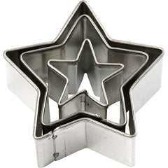 3 x Assorted Size Star Shaped Metal Cookie Cutters Kitchen Accessories - Hobby & Crafts