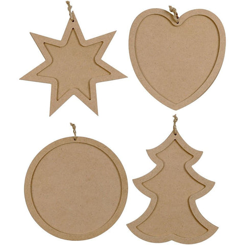 4 x Assorted Christmas Theme MDF Frames With Hanging Cord For Decoration 14 cm - Hobby & Crafts