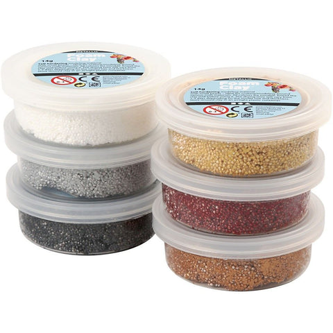 6 x Assorted Metallic Colour Small Bead Modelling Material With Plastic Tub 14 g - Hobby & Crafts