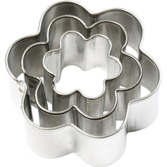 3 x Assorted Size Flower Shaped Metal Cookie Cutters Kitchen Accessories - Hobby & Crafts