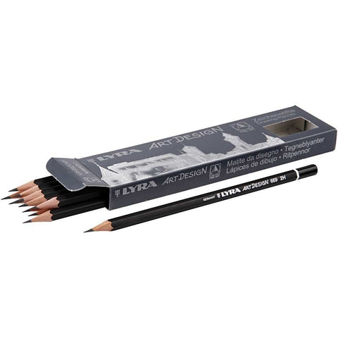12 x Lyra Art Design 2H BLack Colour Drawing Pencils D: 6.9 mm - Hobby & Crafts