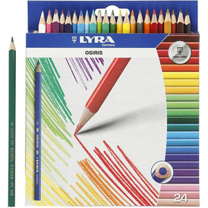 Lyra Triangular Shaped Assorted Colour Osiris Colouring Pencils 18 cm 24pcs - Hobby & Crafts