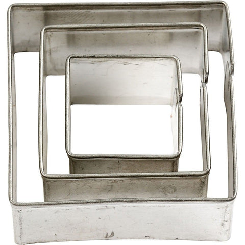 3 x Assorted Size Square Shaped Metal Cookie Cutters Kitchen Accessories - Hobby & Crafts