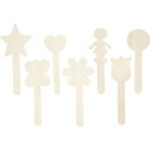7 x Birch Wood Sticks With Assorted Shaped Heads For Ice Lolly Decoration Crafts 15 cm - Hobby & Crafts