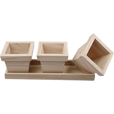 Empress Wood Small Flower Pots Set With Edge For Gardening 27 cm - Hobby & Crafts