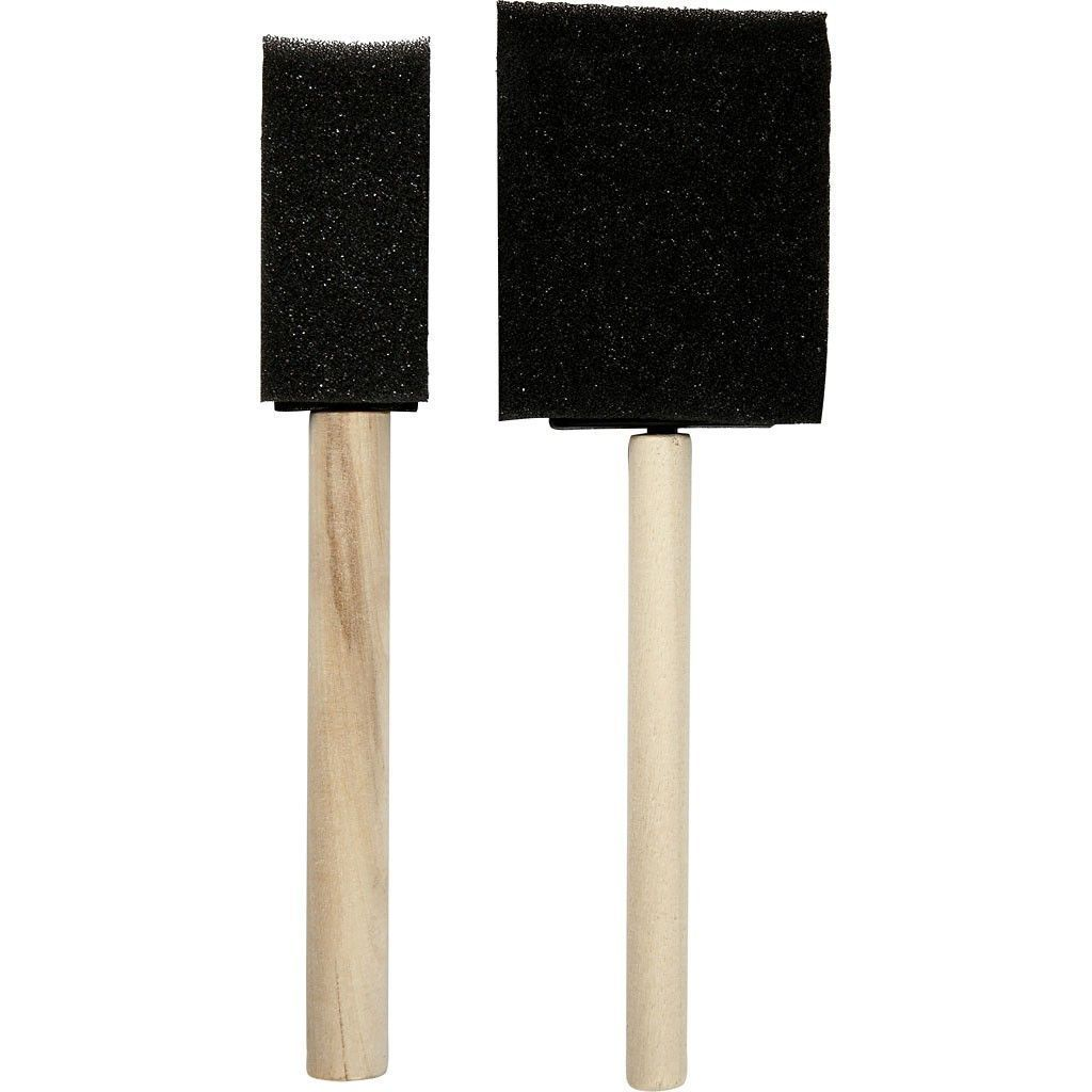 2 Assorted Size Foam Brushes For Painting With Wooden Handle - Hobby & Crafts