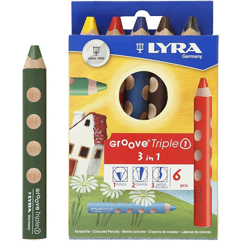 6 x Lyra 3 in 1 Assorted Colour Colouring Pencils 12 cm - Hobby & Crafts
