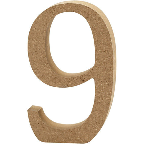 Large MDF Wooden Number 13 cm - Digit 9 - Hobby & Crafts