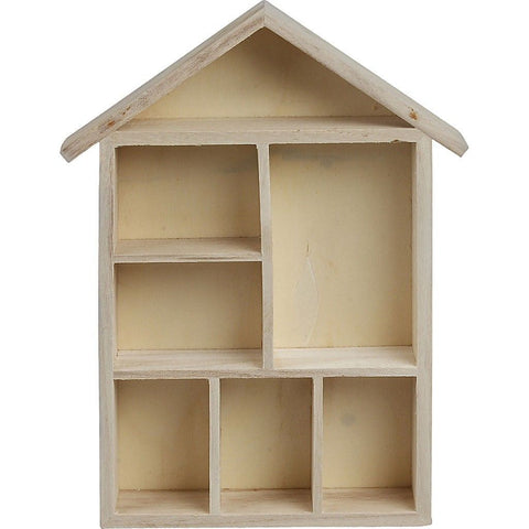 Empress Tree Wood House Shaped Shelving System With Metal Bracket 6 Compartments - Hobby & Crafts