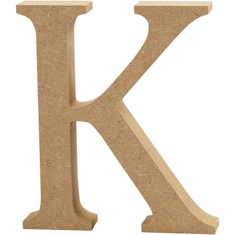 Large MDF Wooden Letter 13 cm - Initial K - Hobby & Crafts