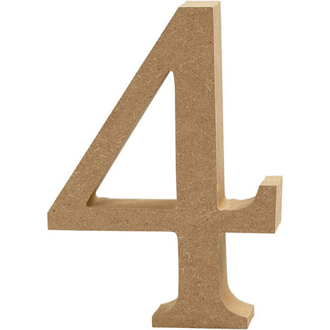 Large MDF Wooden Number 13 cm - Digit 4 - Hobby & Crafts