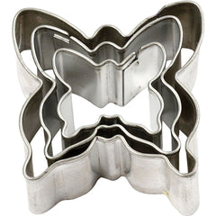 3 x Assorted Size Butterfly Shaped Metal Cookie Cutters Kitchen Accessories - Hobby & Crafts