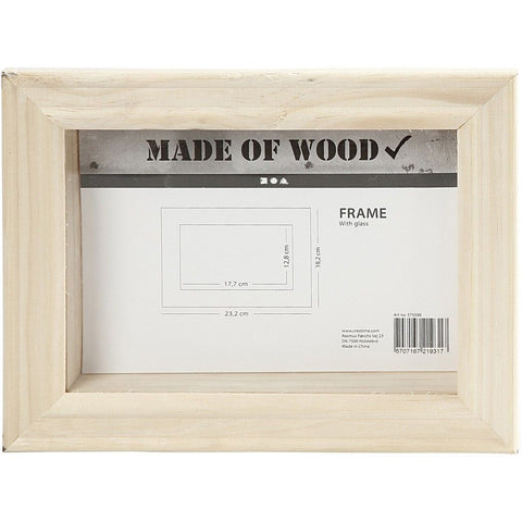 Pine Wood 3D Glass Frame For Photos Pictures Home Decoration 23.2 cm - Hobby & Crafts