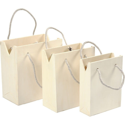 Assorted Size Plywood Bag With Rope Handle Wooden Utility Items 3pcs - Hobby & Crafts