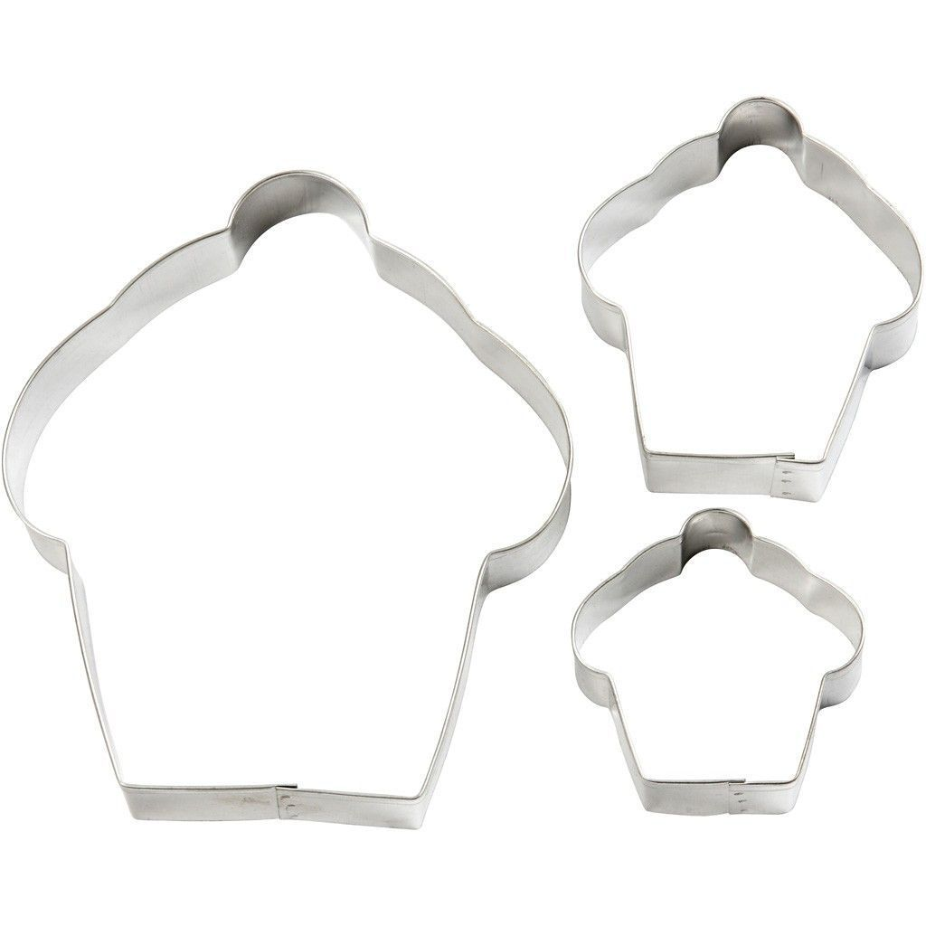 3 x Assorted Size Cake Shaped Metallic Cookie Cutters Kitchen Accessories - Hobby & Crafts