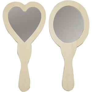 2 x Assorted Shape Plywood Hand Mirrors For Painting Decoration Crafts - Hobby & Crafts
