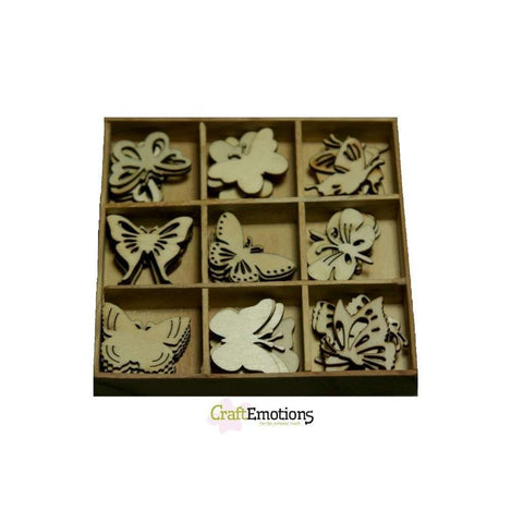 Wooden Ornament Decorations Embellishments Toppers 9 x Assorted Design Botanical Butterflies - Hobby & Crafts