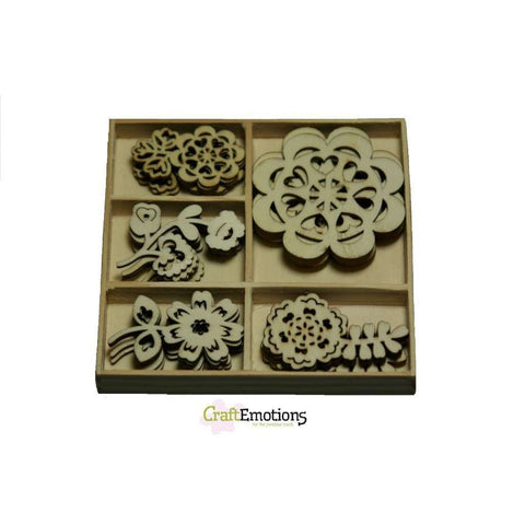 Wooden Ornament Decorations Embellishments Toppers 5 x Assorted Design Folklore Flowers - Hobby & Crafts