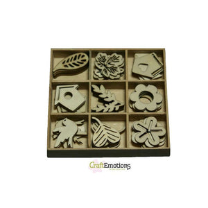 Wooden Ornament Decorations Embellishments Toppers 9 x Assorted Design Flowers Leaves Birds Houses Garden No 1 - Hobby & Crafts