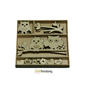 Wooden Ornament Decorations Embellishments Toppers 6 x Assorted Design Owls - Hobby & Crafts