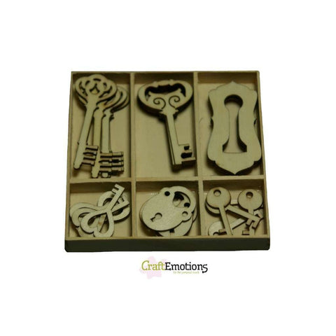 Wooden Ornament Decorations Embellishments Toppers 6 x Assorted Design Key Lock - Hobby & Crafts