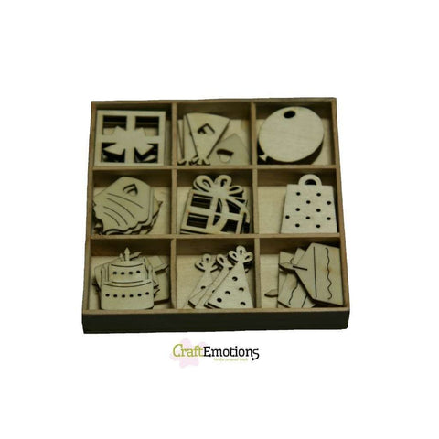Wooden Decorations Embellishments Toppers 9 x Assorted Design Party Ornament - Hobby & Crafts