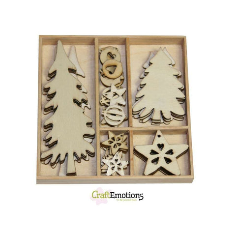 Wooden Ornament Embellishments Toppers 8 x Assorted Design Trees Stars Christmas Decorations - Hobby & Crafts