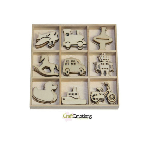 Wooden Ornament Decorations Embellishments Toppers 9 x Assorted Design Toys - Hobby & Crafts