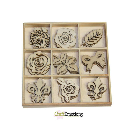 Wooden Ornament Decorations Embellishments Toppers 9 x Assorted Design High Tea Rose - Hobby & Crafts