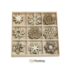 Wooden Ornament Decorations Embellishments Toppers 9 x Assorted Design Crystals - Hobby & Crafts