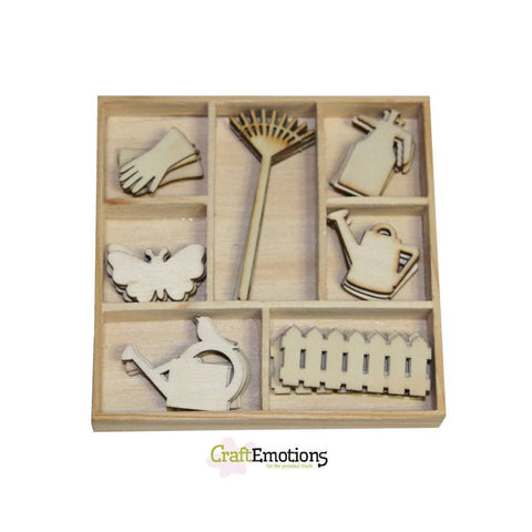 Wooden Ornament Decorations Embellishments Toppers 7 x Assorted Design Garden Tools - Hobby & Crafts