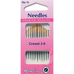 Hemline Gold Eyed Needles - Crewel 3-9 - Hobby & Crafts
