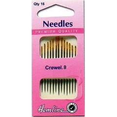 Hemline Gold Eyed Needles - Crewel 8 - Hobby & Crafts