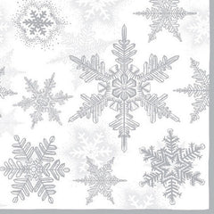 5 Napkins Snow Crystals Silver 33 x 33 cm Tissue Decoupage Paper Party Craft - Hobby & Crafts