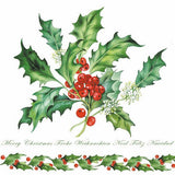 5 Napkins Holly Branch White 33 x 33 cm Tissue Decoupage Paper Party Craft - Hobby & Crafts