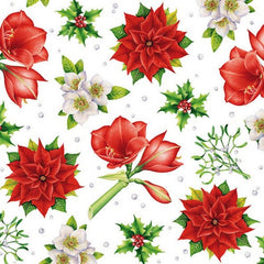 5 Napkins Christmas Flowers White 33 x 33 cm Tissue Decoupage Paper Party Craft - Hobby & Crafts