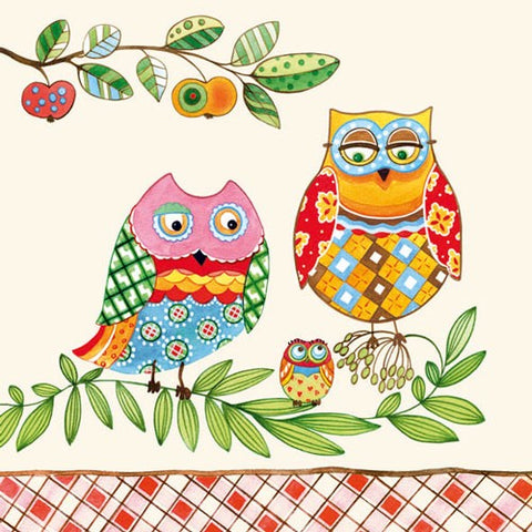5 Napkins Owl Family 33 x 33 cm Tissue Decoupage Paper Party Craft - Hobby & Crafts